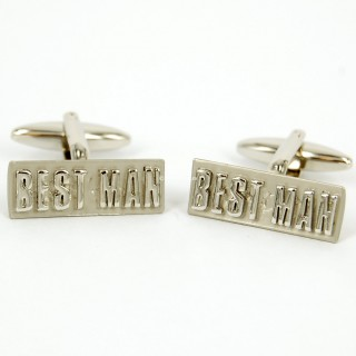 Best Man Rhodium Cufflinks Set