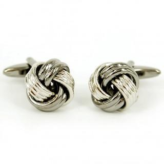 Knotted Rhodium Cufflinks Set