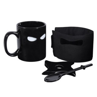 Includes: removable ninja cover, samurai spoon and ninja star/shuriken coaster