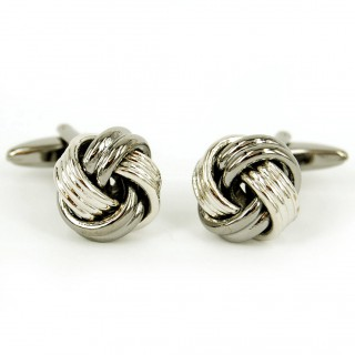 Knotted Rhodium Cufflinks Set